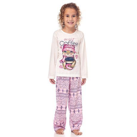70c09fb3f Pijama Longo de Inverno Gatinha Infantil Menina Luna Cuore