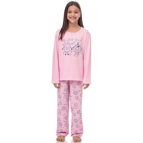 09c05ff2e Pijama Moletinho I Love You Juvenil Menina Luna Cuore