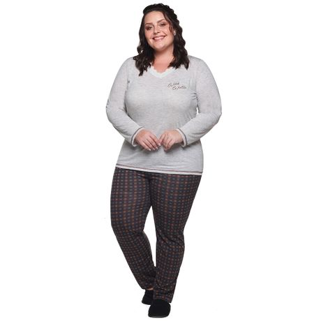 7c6f39532 Pijama de Inverno Estampa Xadrez Plus Size Adulto Luna Cuore