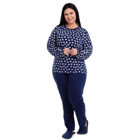 3e3f8303f Pijama Longo Plus Size Corações Feminino Adulto Luna Cuore