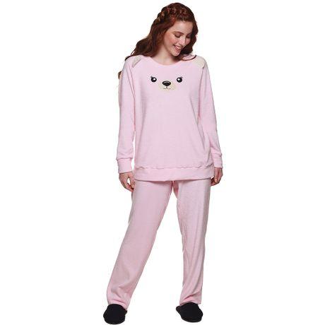 10844572f Pijama Longo de Inverno Ursinho em Plush Feminino Luna Cuore