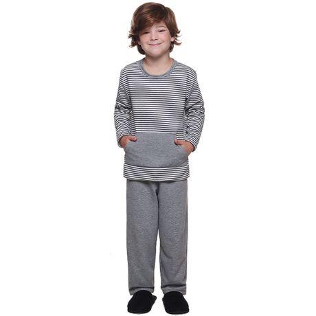 bcea67adf Pijama Longo Moletinho Infantil Juvenil Listrado Menino Luna Cuore