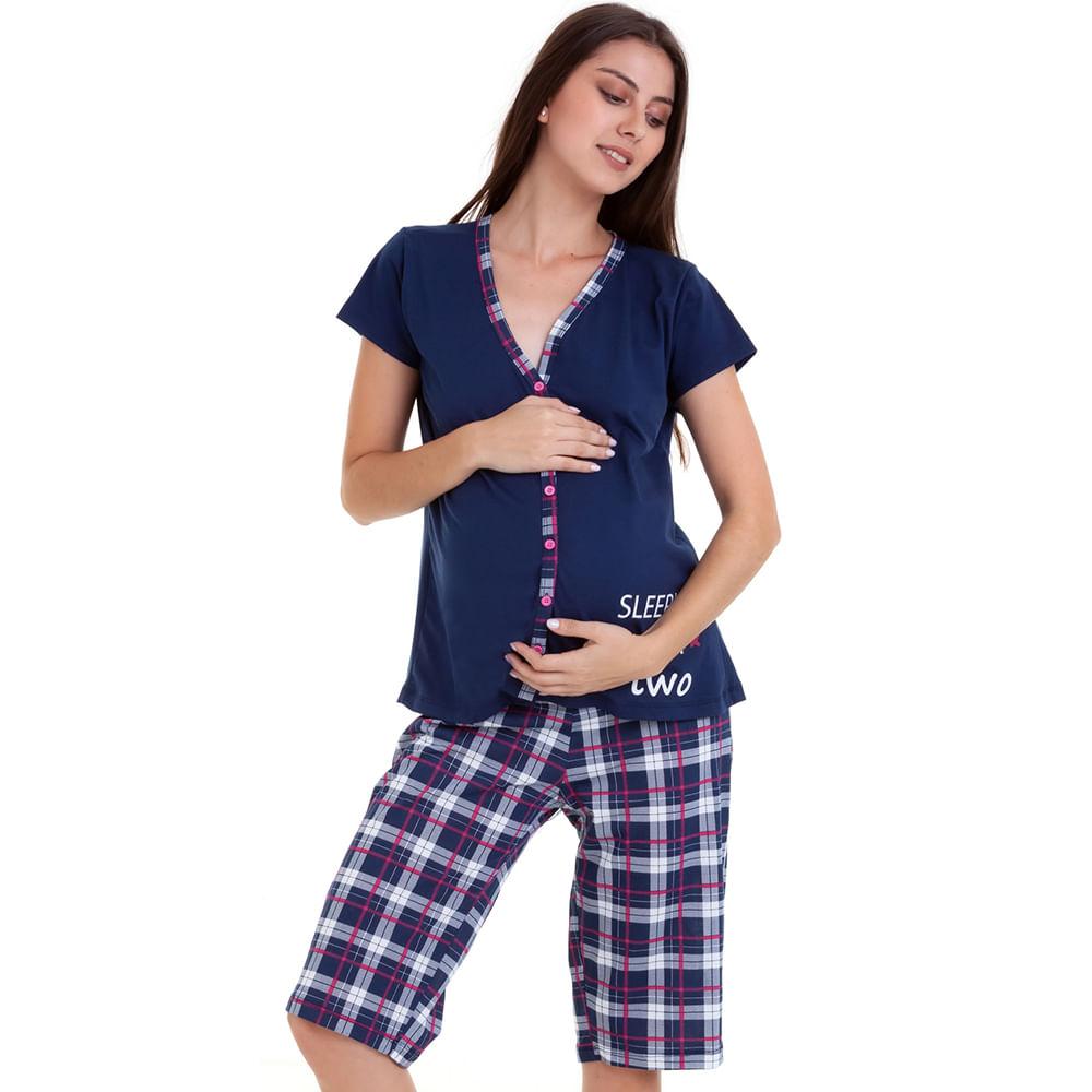 3680f005af79a1 Pijama Capri Gestante com Abertura com Algodão Luna Cuore - Moda Facil